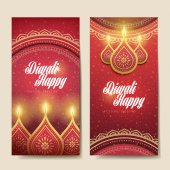 Happy diwali festival greeting text card with candle decorations and white background