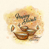 Happy diwali festival greeting text with oil lamp decorations and white background
