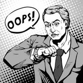 Retro young man with a shocked face and looks at his watch comic book style speech bubble pop art black and white