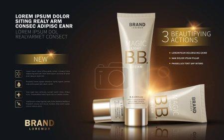 Illustration pour B. B. annonces crème, modèle de tube de maquillage avec effet scintillant. Illustration 3D . - image libre de droit
