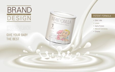 Illustration for Infant formula advertisement, with nutrition listed, white background, 3D illustration - Royalty Free Image