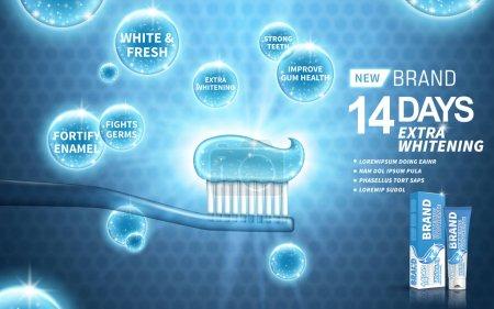 Illustration pour Publicité dentifrice blanchissant, sur fond bleu, illustration 3d - image libre de droit