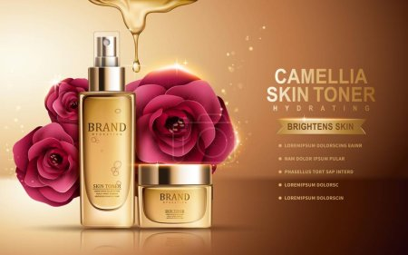 Illustration for Camellia skin toner contained in sprayer bottle and cosmetic jar, golden background, 3d illustration - Royalty Free Image