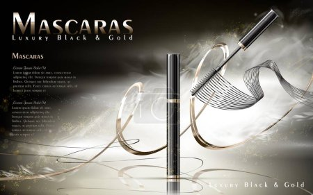 Illustration for Luxury mascaras ads, black and golden package with streamline, foggy background, 3d illustration - Royalty Free Image