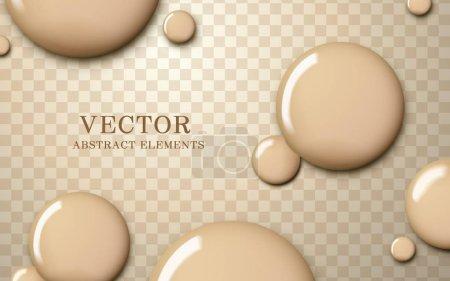 Illustration pour Texture de fond de teint attrayante, teint brillant goutte liquide sur fond transparent, illustration 3d - image libre de droit