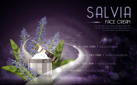 Illustration for Salvia cosmetic face cream contained in bottle, purple background, 3D illustration - Royalty Free Image