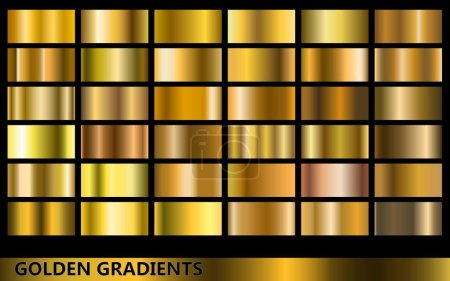 Illustration for Golden gradients collection, with several different kinds of golden colors - Royalty Free Image