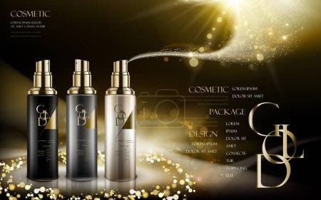 Illustration pour Produit cosmétique caontain en trois couleurs différentes de bouteilles, avec logo et poudres dorées, fond noir, illustration 3D - image libre de droit