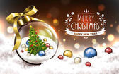 Merry christmas and happy new year logo snowy blur background with a christmas tree in a transparent glass ball