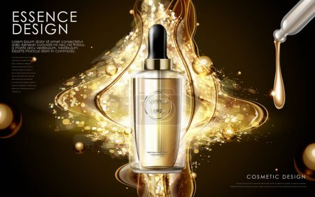 Illustration for Golden essence skin care contained in bottle, glitter background in 3d illustration - Royalty Free Image