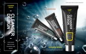 Men's facial cleanser product contained in black tube over watery background in 3d illustration