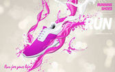 pink running shoes ad
