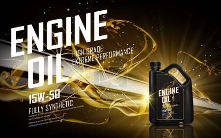 Illustration for Engine oil with golden beam background, 3d illustration - Royalty Free Image