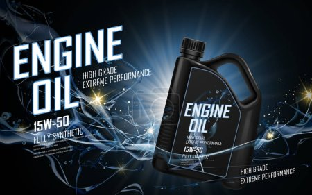 Illustration for Engine oil ad with blue current background, 3d illustration - Royalty Free Image