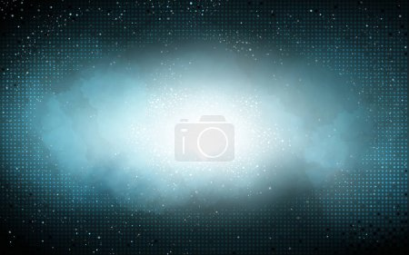 Illustration for Cyan space mist background, which builds a science fiction atmosphere - Royalty Free Image