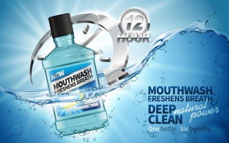 Illustration pour Bain de bouche rafraîchissant souffle ad, contenu dans une bouteille transparente, fond aquatique - image libre de droit