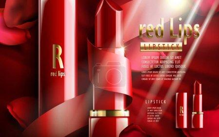 Illustration pour Rouge à lèvres, avec des éléments pétales de fleur de rose, fond rouge spécial Saint-Valentin - image libre de droit