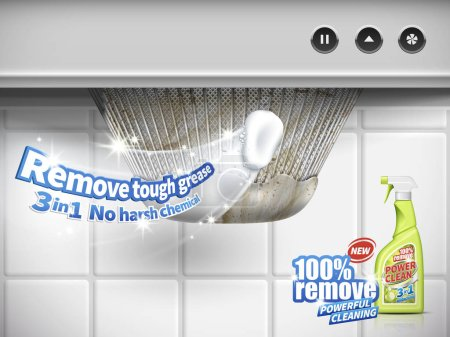 Illustration for Remove grease detergent ad, extractor hood background, 3d illustration - Royalty Free Image