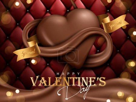 Illustration pour Publicité chocolat Saint Valentin, fond de canapé rouge foncé, illustration 3d - image libre de droit