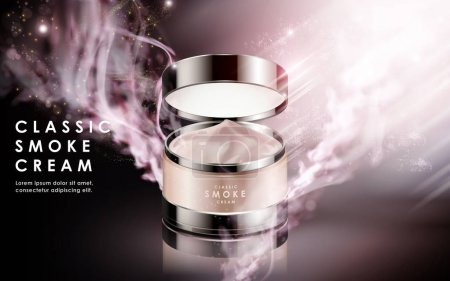 Illustration for Cosmetic cream contained in jar, isolated magical background, 3d illustration - Royalty Free Image