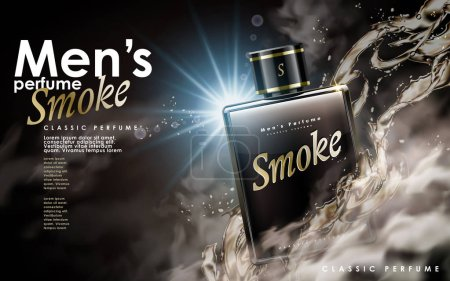 Illustration for Classic men's perfume contained in a square glass bottle, 3d illustration - Royalty Free Image