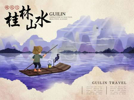 Illustration for China Guilin travel poster with natural scenery, fisherman with cormorant, and Chinese words of Guilin natural scenery and traveling in the world in the upper left corner - Royalty Free Image