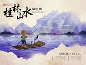 China Guilin travel poster with natural scenery fisherman with cormorant and Chinese words of Guilin natural scenery and traveling in the world in the upper left corner