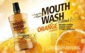 Mouthwash orange flavor with juice and fruit flesh elements 3d illustration