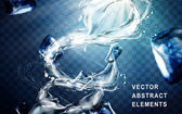Powerful water flow special effect with ice cubes transparent background 3d illustration