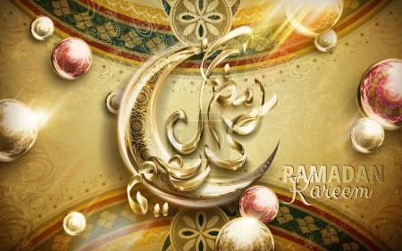 Ramadan Kareem calligraphy on a golden crescent, c...