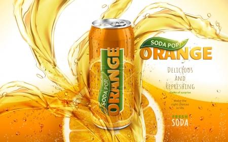Illustration for Orange soda pop ad with a metal can in the middle of the picture, 3d illustration - Royalty Free Image