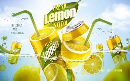 Illustration for Fresh lemon soda ad, with metal can fused with fresh lemon, ocean background 3d illustration - Royalty Free Image
