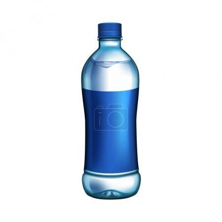 Illustration pour Bouteille vierge avec étiquette bleue pour les utilisations de conception, fond blanc isolé - image libre de droit