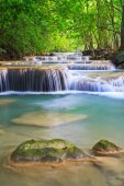 Waterfall and blue stream in forest