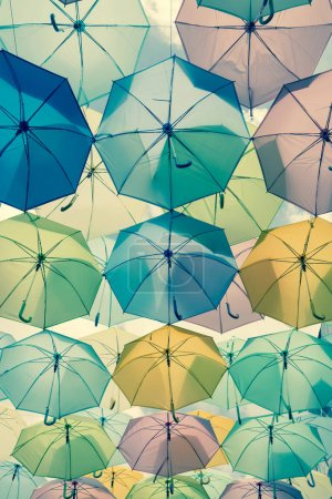 colorful umbrellas under sky