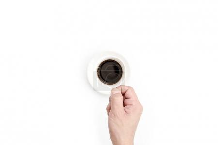 Man has holding for drinking black coffee in the morning. Black