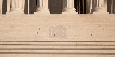 Close up of the columns and steps at The Supreme Court building in Washington, D.C..