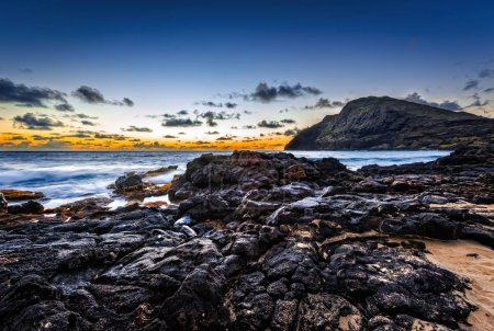 Beautiful sunrise at Makapuu Beach on Oahu, Hawaii