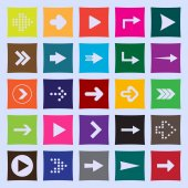 Set of twenty five arrows to the right in colored squares