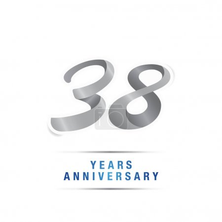 38 years silver anniversary celebration logo, vector illustration isolated on white background