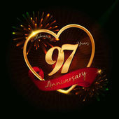 97 years anniversary logo golden coloredwith love shape red ribbon and fireworks background