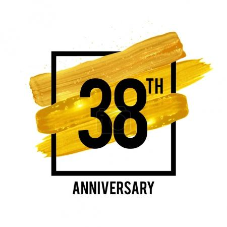 38 Years Anniversary Celebration Logotype with Golden Brush Ornament Isolated on White Background. Vector illustration