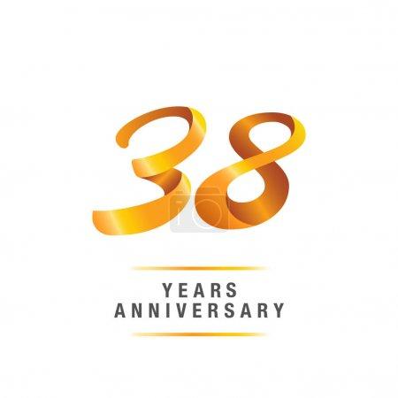 38 years golden anniversary celebration logo, vector illustration isolated on white background