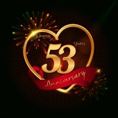 53 years anniversary logo golden coloredwith love shape red ribbon and fireworks background