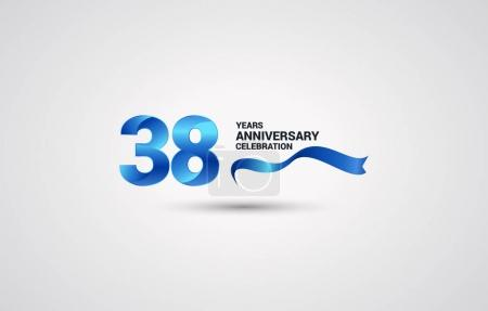 38 Years Anniversary celebration logotype with blue colored ribbon, vector illustration on white background
