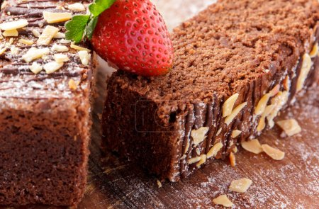 Chocolate brownies with hazelnut and strawberry