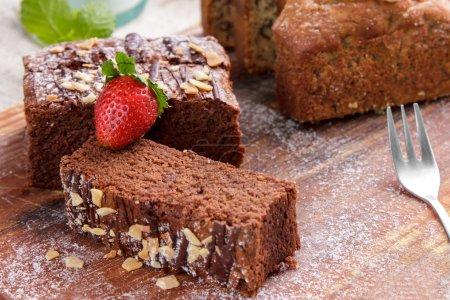 homemade chocolate brownies with hazelnut