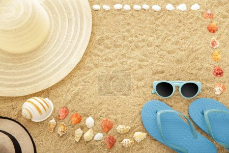 beach accesories on sands