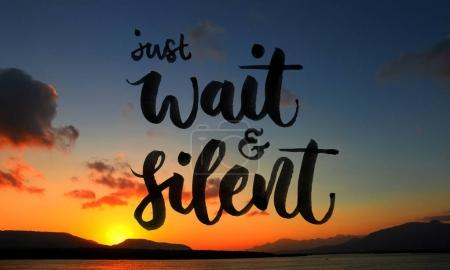 Photo for Just wait and silent quote over beautiful sunset scenery - Royalty Free Image