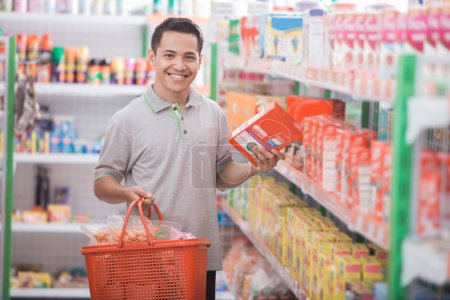 asian man in grocery store